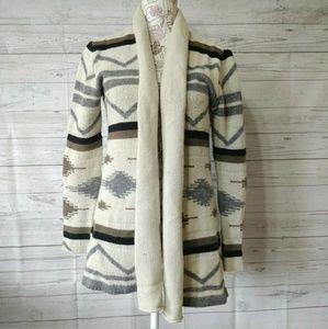 BB Dakota Cardigan Sweater Open Front Wool Blend
